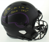 "Cris Carter Signed Vikings Full-Size Eclipse Alternate Speed Helmet Inscribed ""All I Do Is Catch TD's"" (Schwartz Sports COA) at PristineAuction.com"