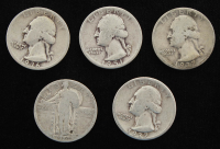 Lot of (5) Quarter Dollars with 1936-D Washington, 1937-S Washington, 1937 Washington, 1951-D Washington, & 1926 Standing Liberty at PristineAuction.com