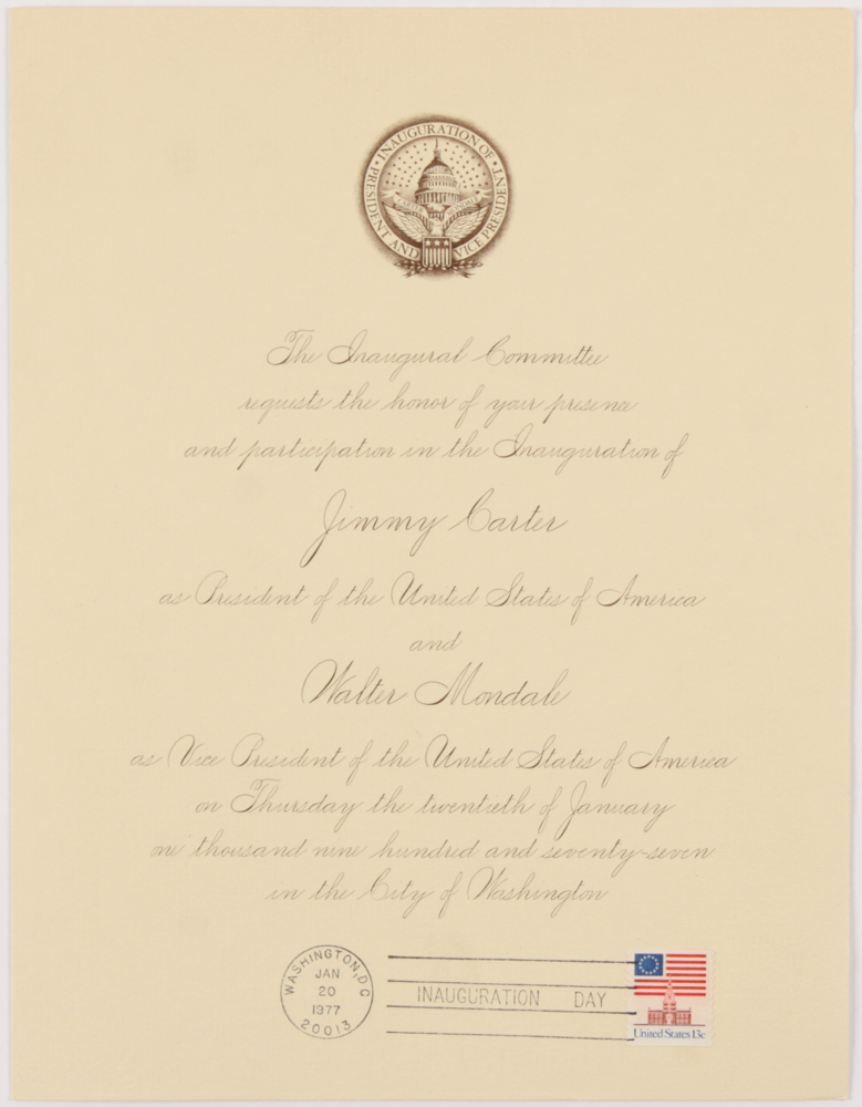 1977 Inauguration Invitation for President Jimmy Carter & Walter Mondale at PristineAuction.com