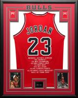 Michael Jordan 34.5x42.5 Custom Framed Stat Jersey at PristineAuction.com