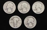 Lot of (5) Quarter Dollars with 1934 Washington, 1936 Washington, 1942 Washington, 1942-D Washington, & (1) Standing Liberty at PristineAuction.com