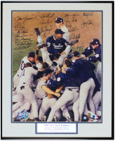 1998 Yankees 20x24.5 Custom Framed Photo Signed by (20) with Derek Jeter, Mariano Rivera, Joe Torre (JSA LOA) at PristineAuction.com