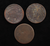 Lot of (3) 1820-1853 Coronet One Cent Large Coins at PristineAuction.com