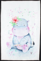 """Rodney Weng - """"PINK HIPPO"""" 25x37 Original Oil Panting on Linen (PA LOA) at PristineAuction.com"""