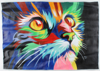 """Rodney Weng - """"Cuddly Kitten"""" Signed 25x36 Original Oil Panting on Linen (PA LOA) at PristineAuction.com"""