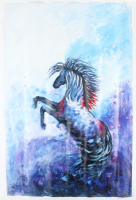 """Rodney Weng  """"PERFECT STRIDE""""  25x37 Original Oil Panting on Linen (PA LOA) at PristineAuction.com"""
