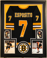 Phil Esposito Signed 34x42 Custom Framed Jersey (JSA COA) at PristineAuction.com