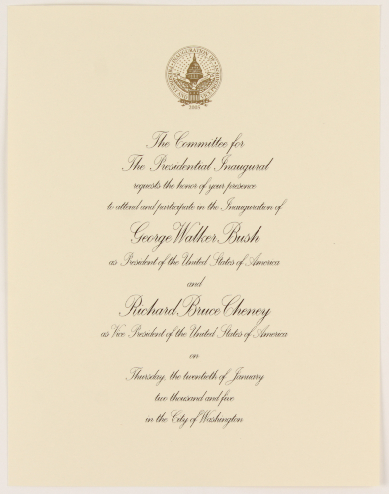 2005 Inauguration Invitation for President George W. Bush & Vice President Dick Cheney at PristineAuction.com