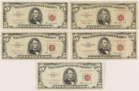 Lot of (5) $5 Five Dollars Red Seal U.S. Legal Tender Notes with (4) 1963 Notes & (1) 1953 Note at PristineAuction.com