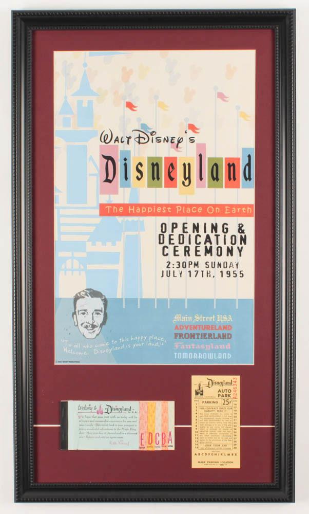 Vintage Disneyland 14.5x25.5 Custom Framed Print Display with Vintage Ticket Book & Vintage Parking Ticket at PristineAuction.com