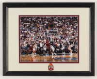 "Michael Jordan Bulls ""The Final Shot"" 12.5x15.5 Custom Framed Photo Display with Vintage Bulls Pin at PristineAuction.com"