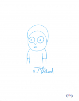 """Justin Roiland Signed """"Morty"""" 11x14 Canvas with Hand-Drawn Sketch (PSA COA) at PristineAuction.com"""