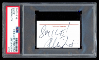 """Allen Funt Signed 1.25x2.5 Cut Inscribed """"Smile!"""" (PSA Encapsulated) at PristineAuction.com"""