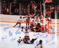 "1980 Team USA ""Miracle on Ice"" 16x20 Photo Team-Signed by (14) with Jim Craig, Mike Eruzione, Dave Silk, Ken Morrow (JSA COA) at PristineAuction.com"