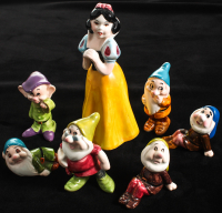 "Lot of (7) Vintage ""Snow White & The Seven Dwarfs"" Disneyland Souvenir Ceramic Figurines at PristineAuction.com"