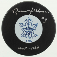 """Norm Ullman Signed Maple Leafs Logo Hockey Puck Inscribed """"HOF-1982"""" (COJO COA) at PristineAuction.com"""