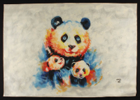 "Rodney Weng Signed ""Panda Love"" 25.5x36 Original Oil Panting on Linen (PA LOA) at PristineAuction.com"