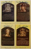 Lot of (4) Signed Gold Hall of Fame Plaque Postcards with Enos Slaughter, Duke Snider, Juan Marichal & Bobby Doerr (Stacks of Plaques LOA) at PristineAuction.com