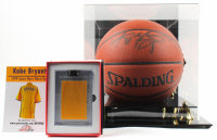Lot of (2) Kobe Bryant Items With Signed NBA Basketball ith Display Case & 1999 Game Worn Warm Ups Piece (Beckett LOA & PSA Hologram) at PristineAuction.com