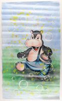 "Rodney Weng Signed ""Pink Hippo"" 25.5x45 Original Oil Panting on Linen (PA LOA) at PristineAuction.com"