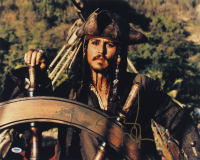 "Johnny Depp Signed ""Pirates of the Caribbean"" 16x20 Photo (PSA COA) at PristineAuction.com"