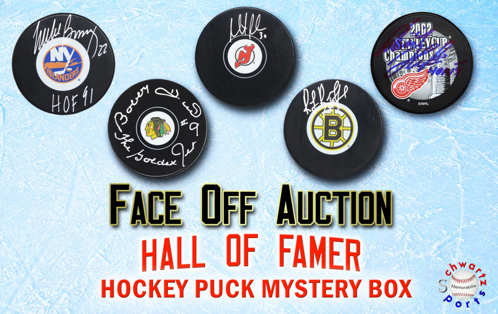 Schwartz Sports NHL Face-Off Auction - Hockey Hall of Famer Signed Hockey Puck Mystery Box (Limited to 25) - 25 Different Hall of Famers!! at PristineAuction.com