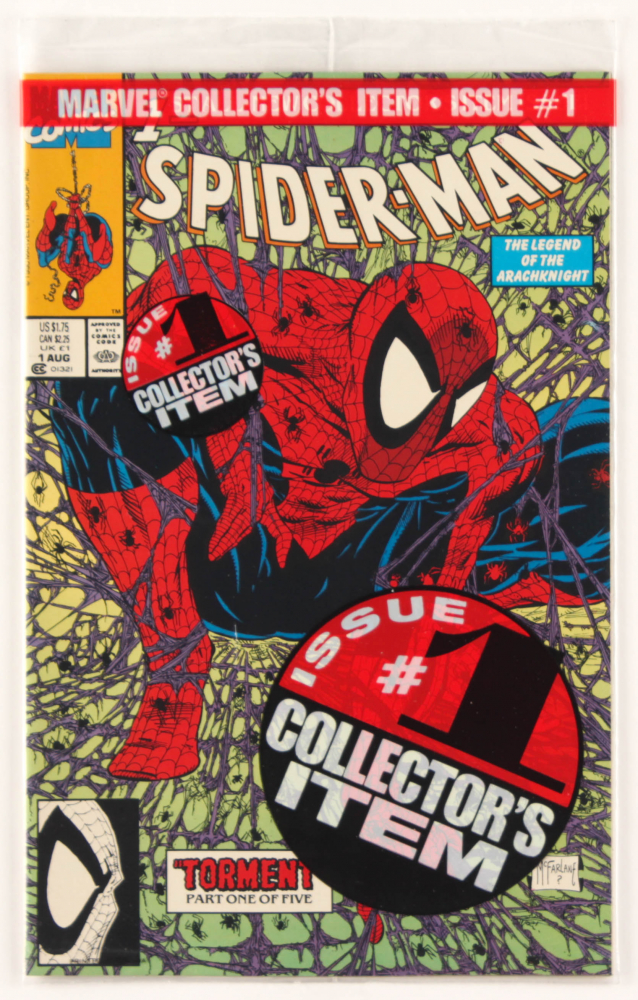 """1990 """"Spider-Man"""" Vol. 1 Issue #1 Green Edition Marvel Comic Book at PristineAuction.com"""
