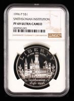 1996-P 150th Smithsonian Institution Anniversary Commemorative Proof Silver Dollar Coin (NGC PF 69 Ultra Cameo) at PristineAuction.com