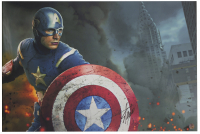 "Stan Lee Signed ""Captain America"" 24x36 Stretched Canvas (Beckett LOA & Lee Hologram) at PristineAuction.com"