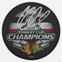 Corey Crawford Signed Blackhawks 2015 Stanley Cup Champions Logo Puck (Schwartz COA) at PristineAuction.com