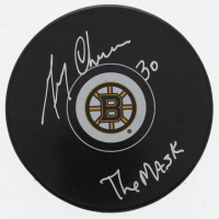 """Gerry Cheevers Signed Bruins Logo Puck Inscribed """"The Mask"""" (Schwartz COA) at PristineAuction.com"""