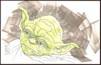 "Tom Hodges Signed ""Yoda"" 5.5x8.5 Original Drawing on Paper (PA COA) at PristineAuction.com"