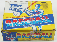 1983 Topps Baseball Cello Box with Ryne Sandberg #83 RC Showing in Pack at PristineAuction.com