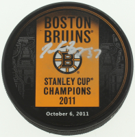 Patrice Bergeron Signed 2011 Stanley Cup Champions Bruins Logo Puck (Bergeron COA) at PristineAuction.com