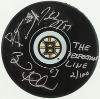 "Brad Marchand, Patrice Bergeron & David Pastrnak Signed LE Bruins Logo Puck Inscribed ""The Perfection Line"" (YSMS COA) at PristineAuction.com"