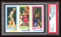 Magic Johnson Signed 1980-81 Topps #6 34 Larry Bird RC / 174 Julius Erving TL / 139 Magic Johnson RC (PSA Encapsulated) at PristineAuction.com