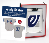 SANDY KOUFAX 1990's SPRING TRAINING DODGERS WORN JERSEY MYSTERY SWATCH BOX! at PristineAuction.com