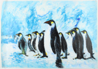 """Rodney Weng Signed """"Penguin Party"""" 25.25x35.75 Original Oil Panting on Linen (PA LOA) at PristineAuction.com"""