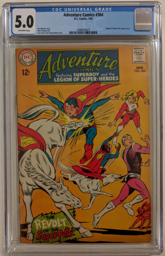 """1968 """"Adventure Comics"""" Issue #364 DC Comic Book (CGC 5.0) at PristineAuction.com"""