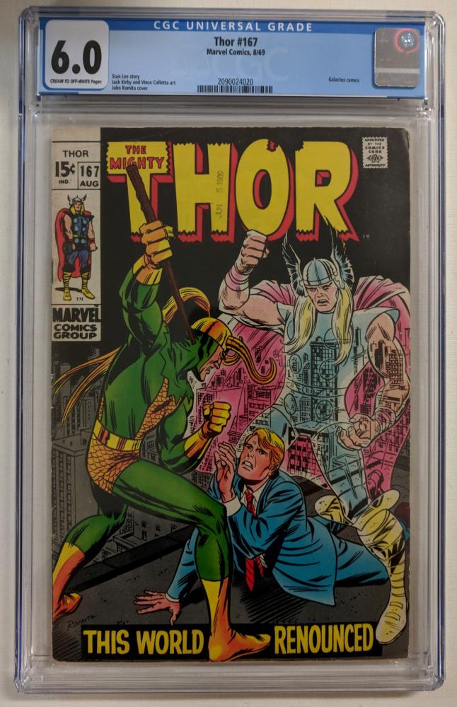 "1969 ""Thor"" Issue #167 Marvel Comic Book (CGC 6.0) at PristineAuction.com"