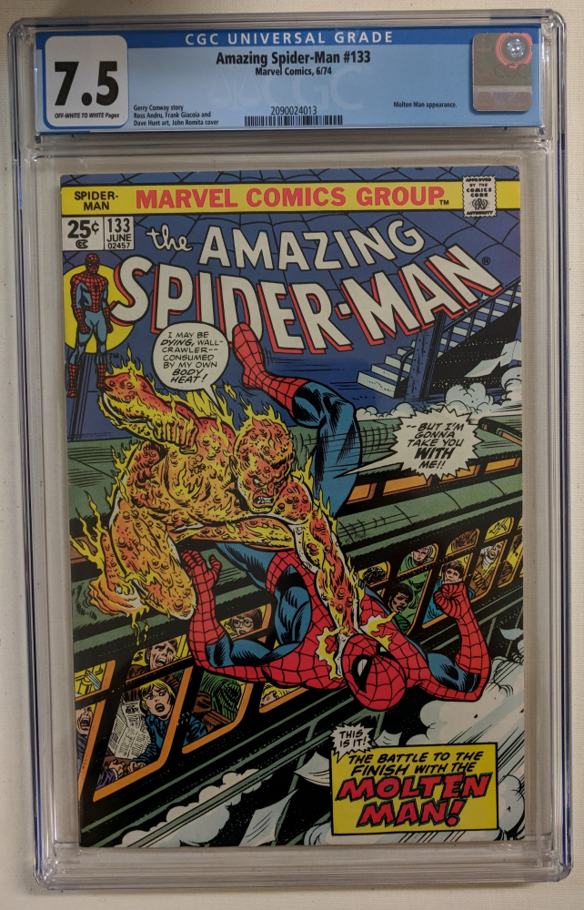 """1974 """"The Amazing Spider-Man"""" Issue #133 Marvel Comic Book (CGC 7.5) at PristineAuction.com"""