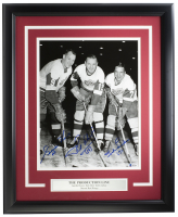 Gordie Howe, Ted Lindsay & Sid Abel Signed Red Wings 16x20 Custom Framed Photo (Beckett COA) at PristineAuction.com