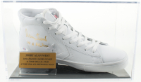"Jerry West Signed Vintage Converse Basketball Shoe with Display Case Inscribed ""14x All Star"" (PSA COA) at PristineAuction.com"