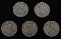 Lot of (5) Walking Liberty Silver Half Dollars at PristineAuction.com