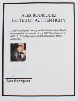 "Alex Rodriguez Framed Game-Used & Signed Wristband from 600th Home Run Inscribed ""600 HR"" & ""8-4-10"" (Alex Rodriguez LOA) at PristineAuction.com"