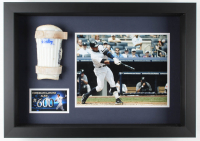 "Alex Rodriguez Framed Game-Used & Signed Shin Guard from 600th Home Run - Inscribed ""Game Worn"", ""600 HR"", & ""8-4-10"" (Alex Rodriguez LOA & MLB Hologram) at PristineAuction.com"