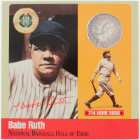 Babe Ruth Cooperstown Hall of Fame 6x6 Photo Display with Pure Silver Proof Coin at PristineAuction.com