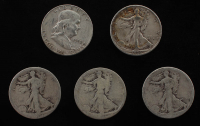 Lot of (5) Half Dollars with (1) Franklin Half Dollar & (4) Walking Liberty Silver Half Dollars at PristineAuction.com