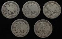 Lot of (5) Walking Liberty Silver Half Dollars at PristineAuction.com