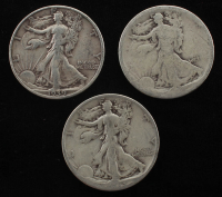 Lot of (3) Walking Liberty Silver Half Dollars at PristineAuction.com